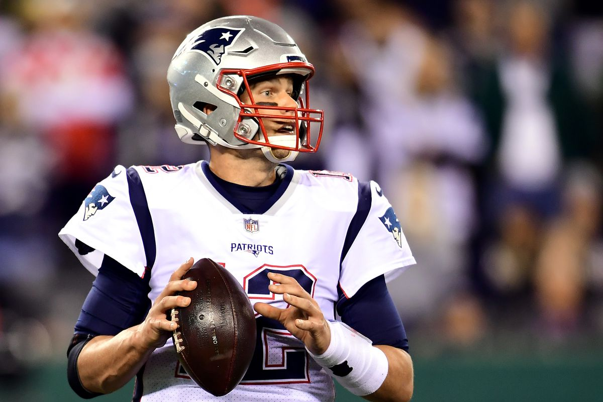 Tom Brady of the New England Patriots drops back to pass during the second half of their game against the New York Jets at MetLife Stadium on October 21, 2019 in East Rutherford, New Jersey.