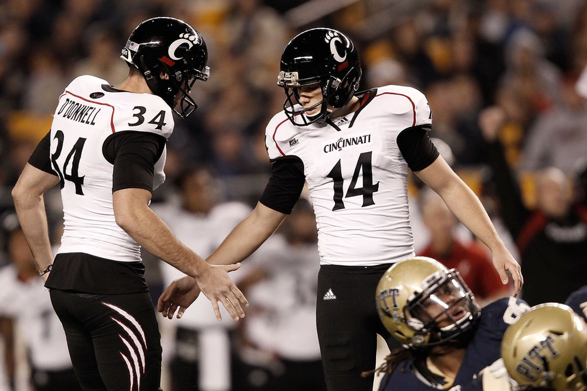 Tony Miliano and Pat O'Donnell give the Bearcats a sizeable edge in the kicking game against Vanderbilt in the 53rd Autozone Liberty Bowl (Photo by Jared Wickerham/Getty Images)