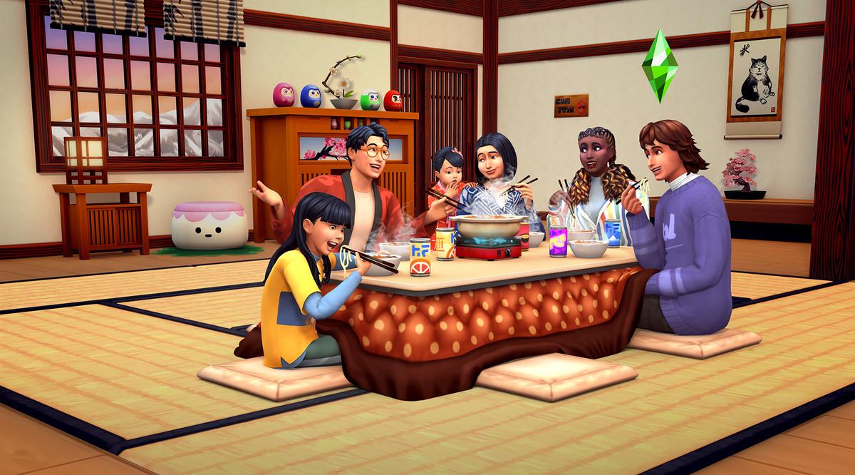 Family eating hotpot