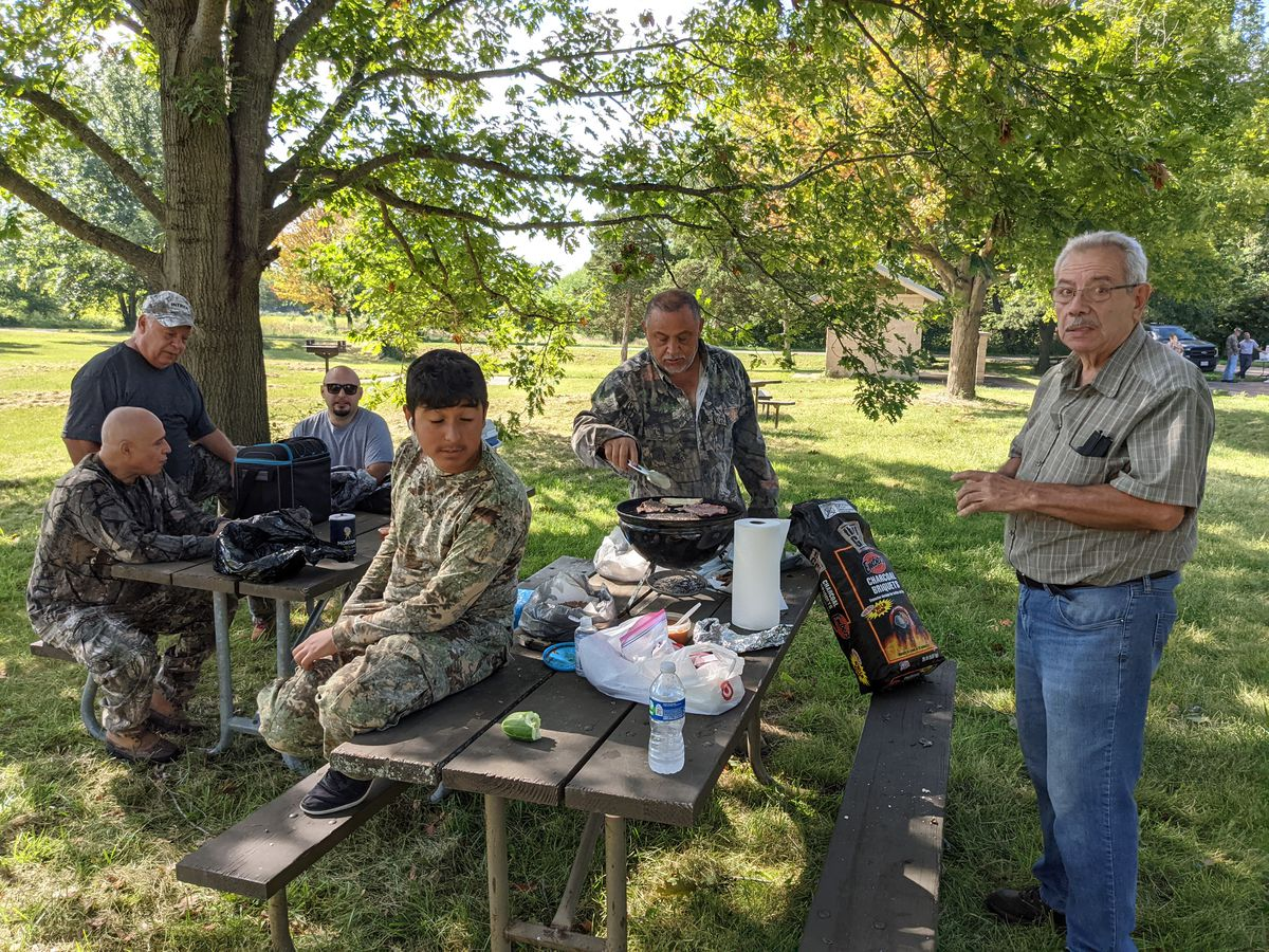 Abel Ocequera Sr. grilled skirt steak and bean tacos on opening day of dove hunting at Matthiessen State Park. Credit: Dale Bowman