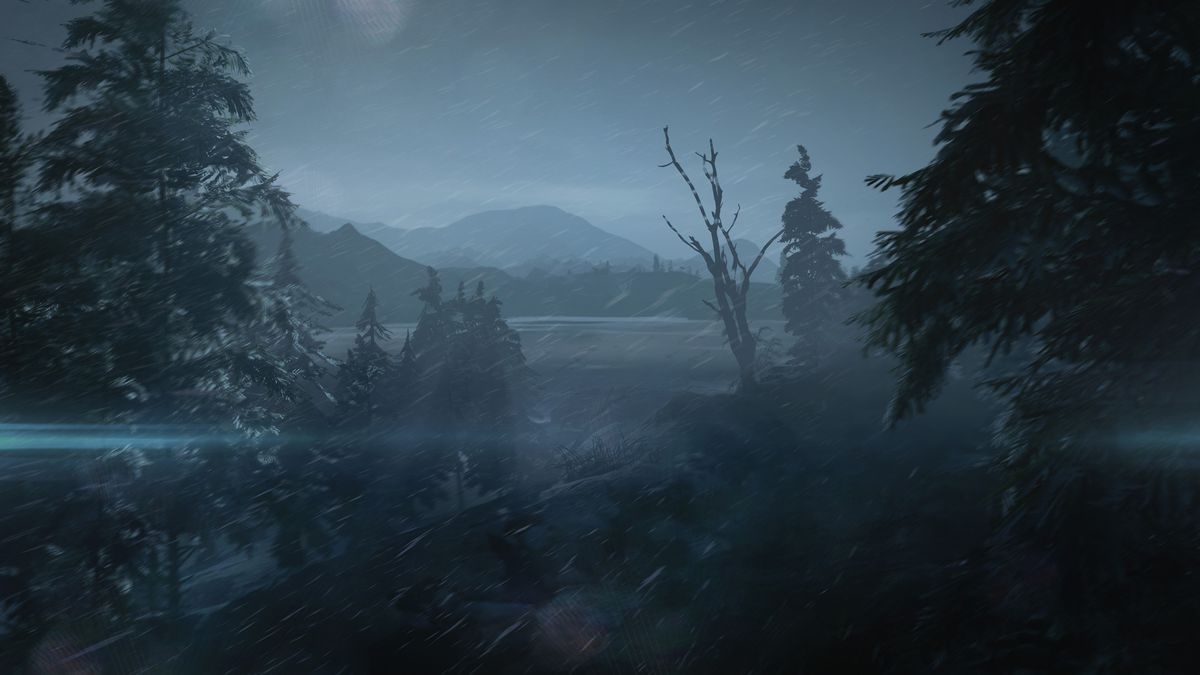 snow falling at night in a forested area in the mountains in Hitman 3's Carpathian Mountains level