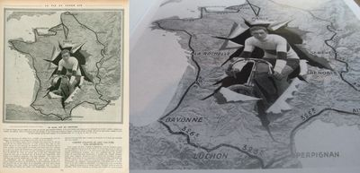 On the left, a page from 'La Vie au Grand Air' in 1913 as found on Gallica and on the right how that image appears in 'Cartes du Tour'