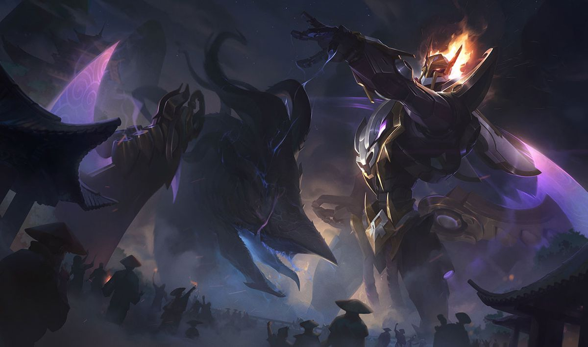 Mecha Kingdoms Draven swings his blade at a monster