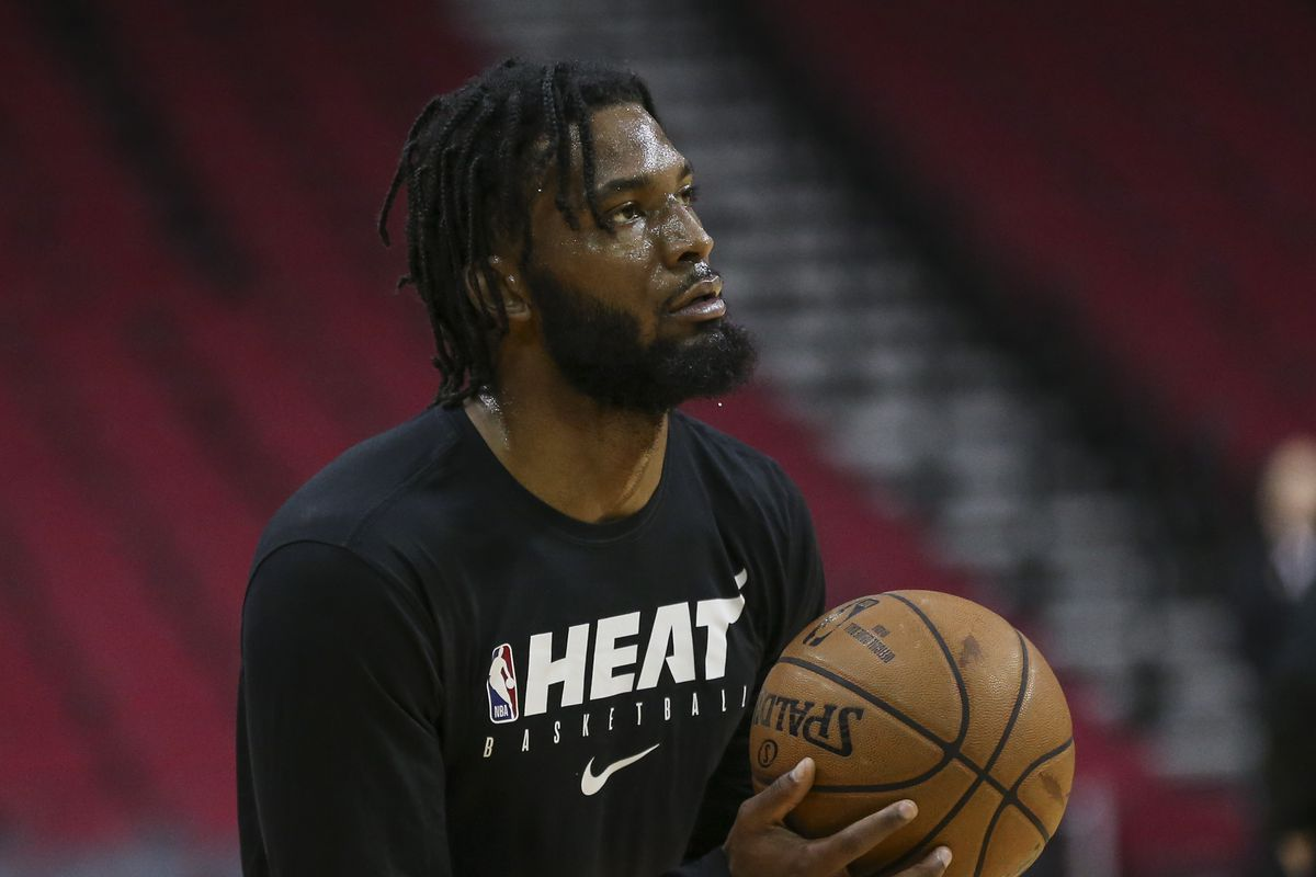 Miami Heat forward Justise Winslow warms up before a game against the Houston Rockets at Toyota Center.