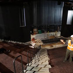 Mark Dietlein, president, CEO, executive producer and marketing director of the Hale Centre Theatre, leads a tour of the Jewel Box Theatre in the soon-to-be-completed Hale Centre Theatre in Sandy on Wednesday, Aug. 9, 2017.