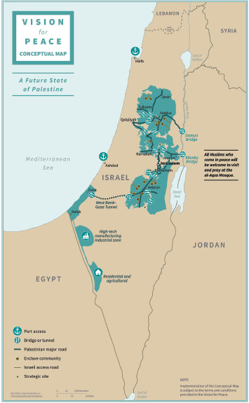 A map of proposed territory for Israel and Palestine.