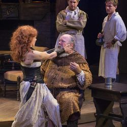 """Saren Nofs-Snyder, left, as Doll Tearsheet, John Ahlin as Sir John Falstaff, Andrew Voss as Poins and Sam Ashdown as Prince Henry in the Utah Shakespeare Festival's 2015 production of """"Henry IV Part Two."""""""