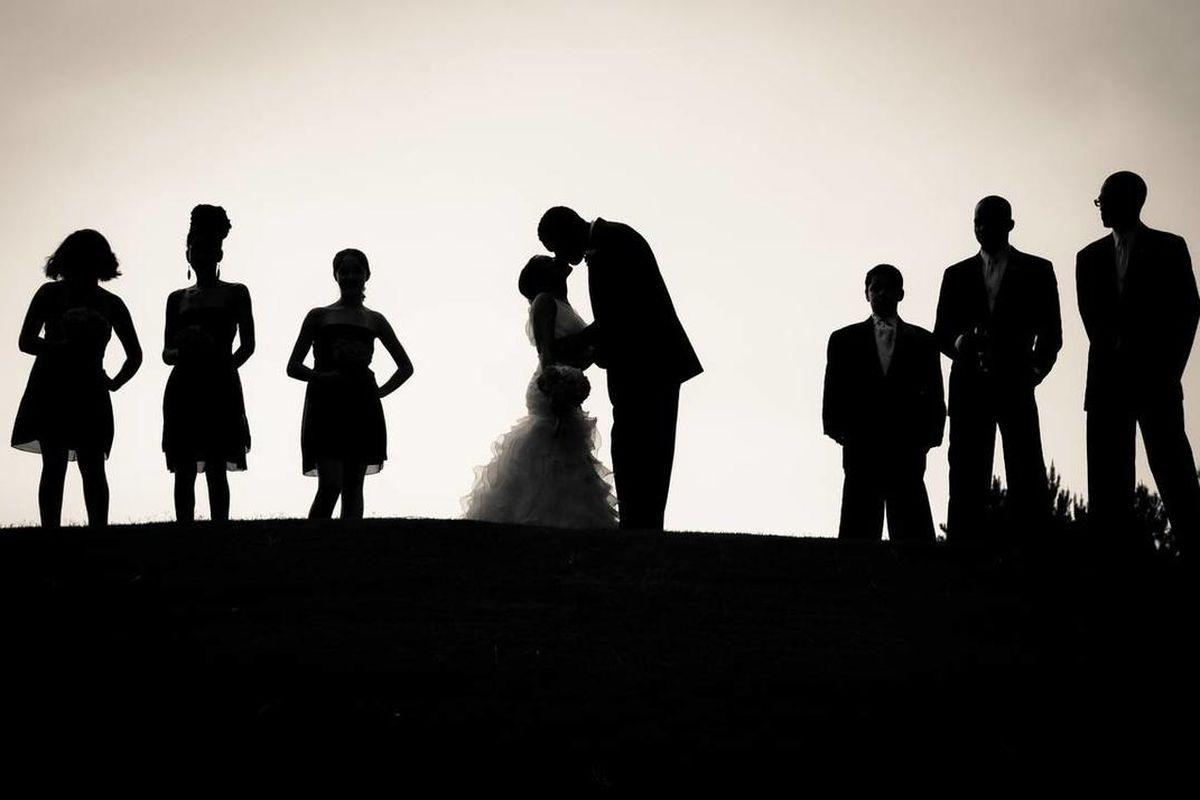 A silhouette wedding portrait.