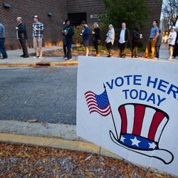 Voters line up to vote at Westminster Presbyterian Church in Grand Rapids, Mich., on Nov. 8, 2016.