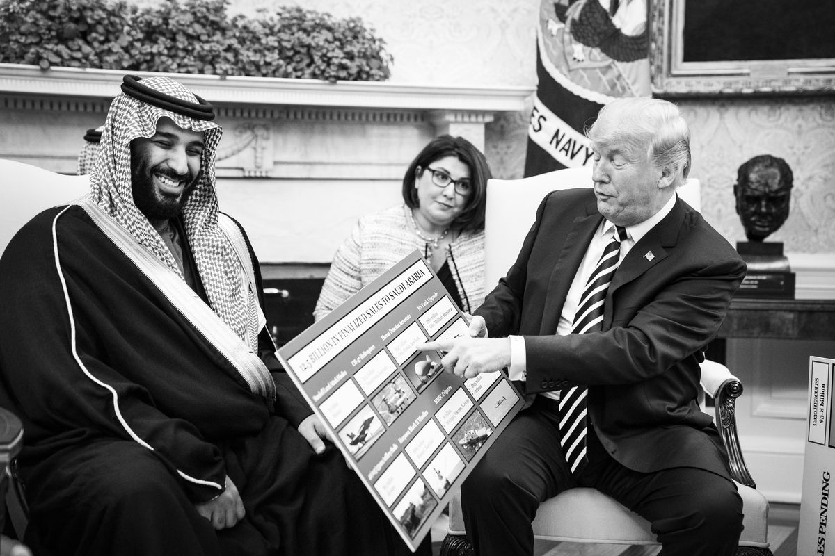 President Trump talks with Crown Prince Mohammed bin Salman of the Kingdom of Saudi Arabia during a meeting in the Oval Office on March 20, 2018.