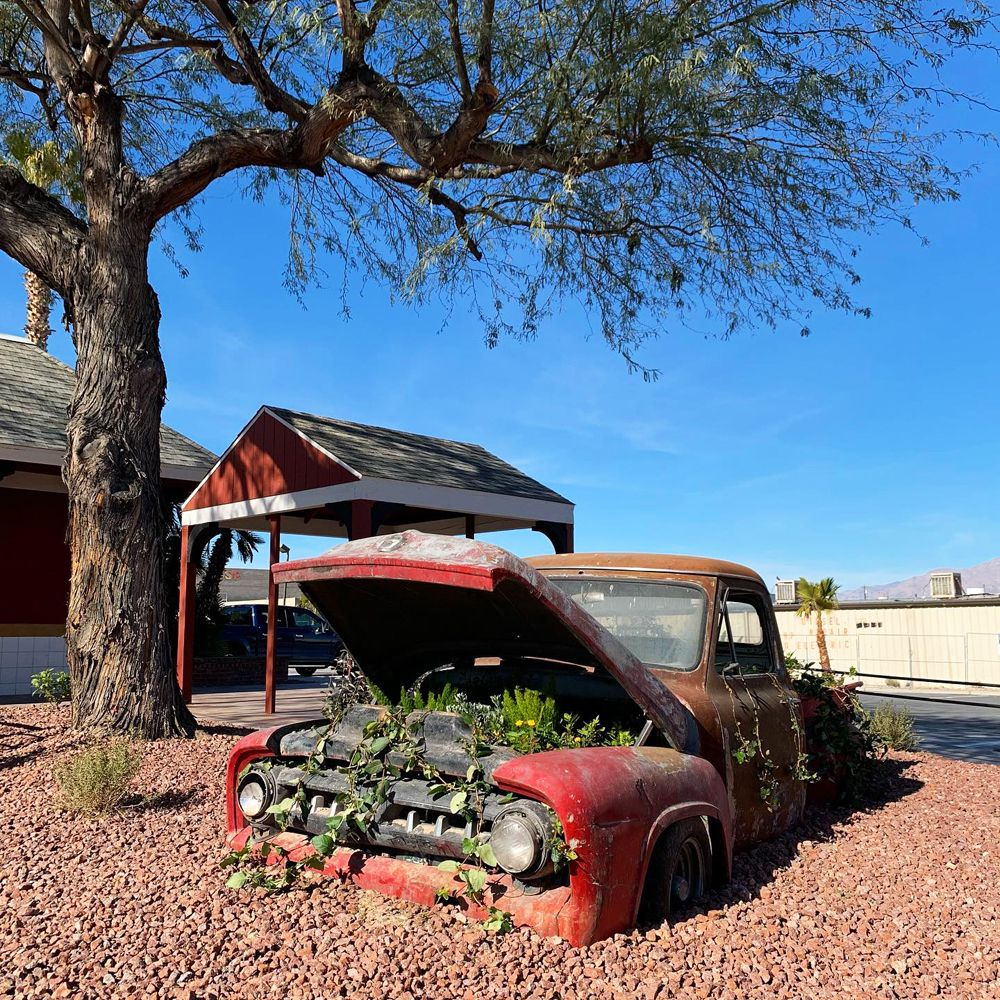 A vintage truck on display by the drive-thru at the SNS Diner in North Las Vegas.