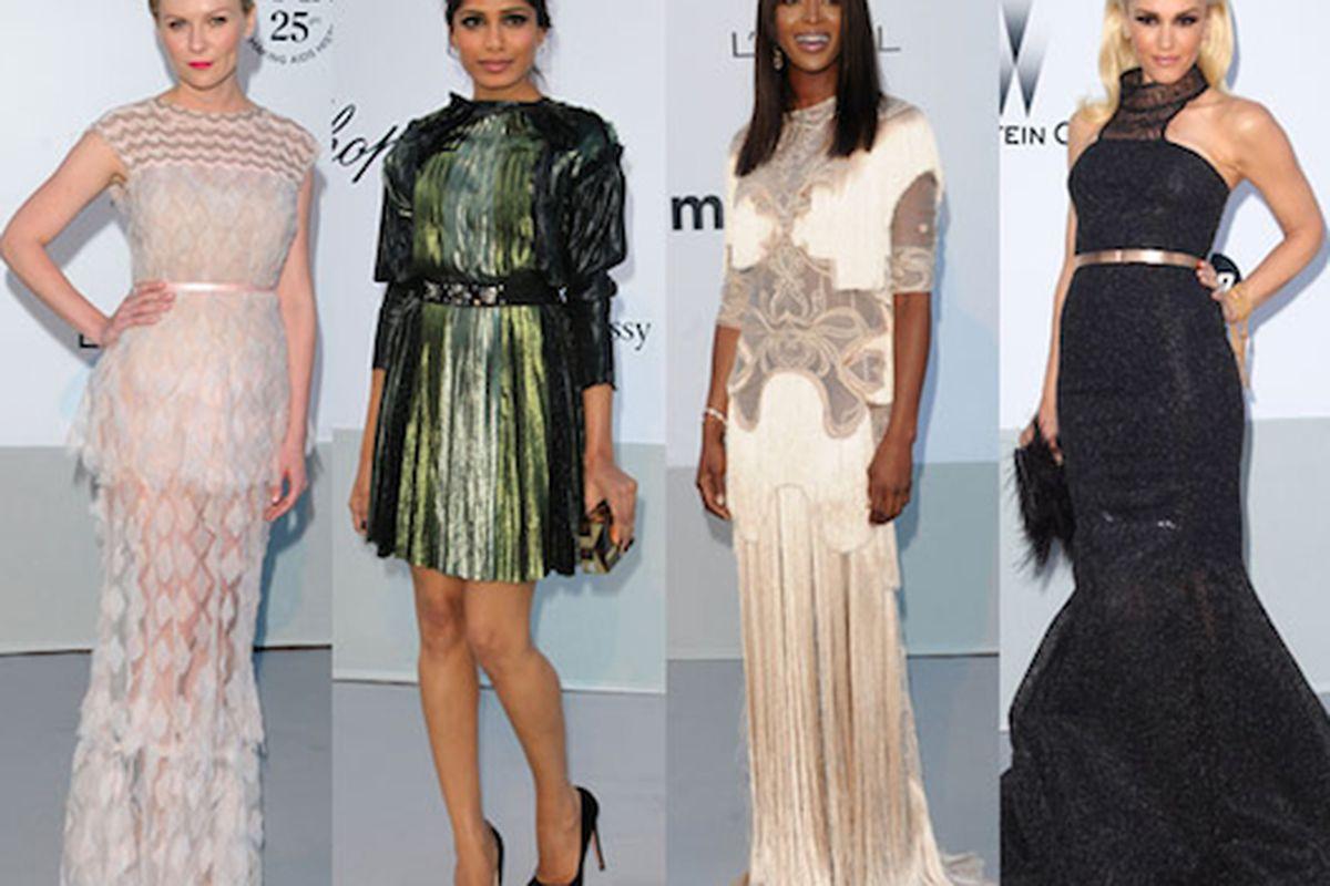 "Girls get glam for good in Cannes. Image via <a href=""http://www.fabsugar.com/amfAR-Cinema-Against-Aids-Benefit-Pictures-Gwen-Stefani-Rosario-Dawson-Naomi-Campbell-More-16801603"">Fabsugar</a>"