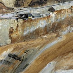 The view of Kennecott's Bingham Canyon Mine and slide during a press tour Thursday, April 25, 2013.