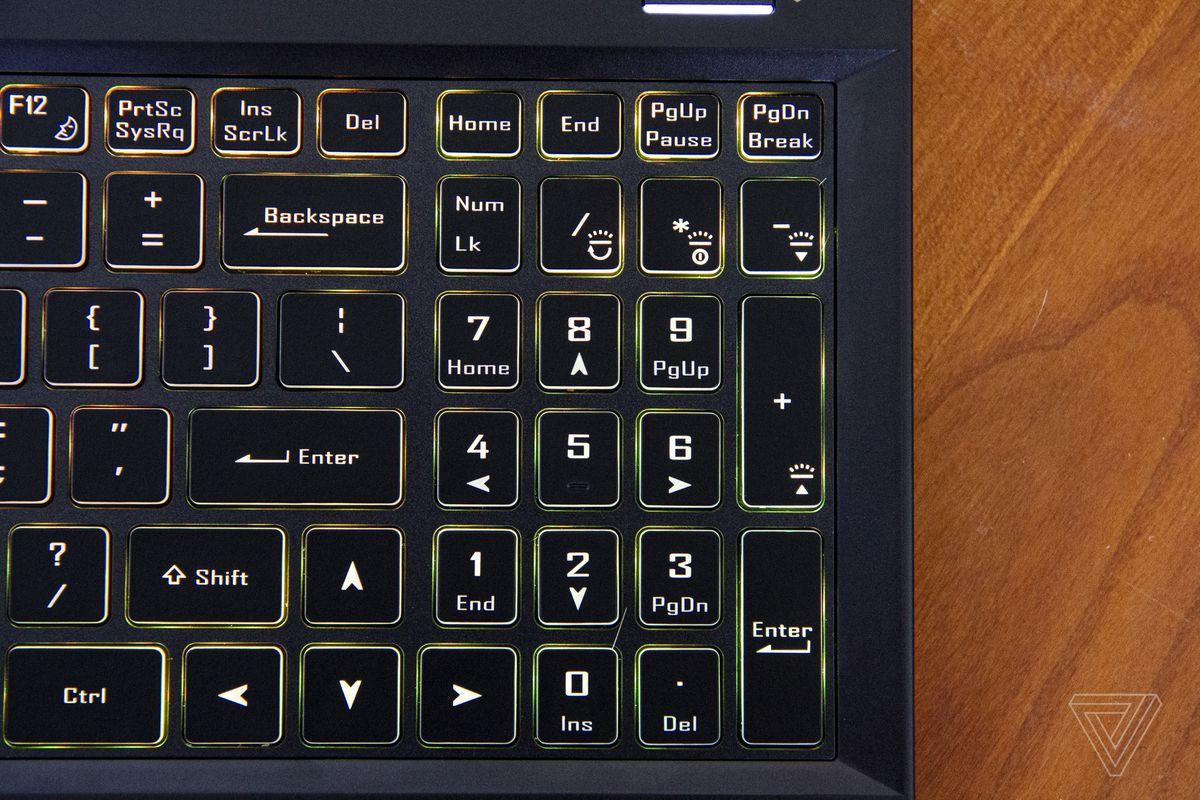 The Origin EVO15-S numpad, up close.