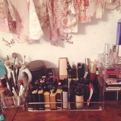 Being stuck inside is a great excuse to organize my makeup. I got all these plastic storage solutions at <b>The Container Store</b> and it's making me so happy to be able to see everything at once.