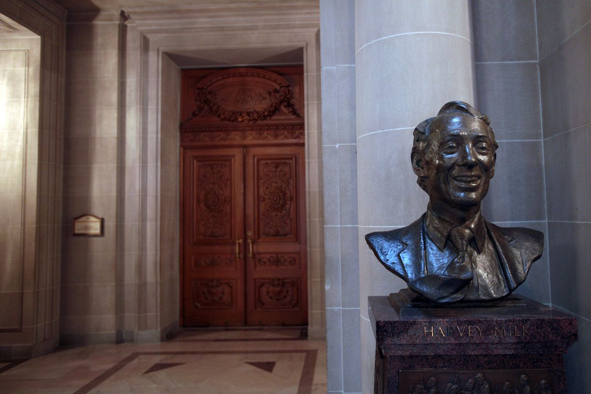 The bust of Harvey Milk at SF City Hall.