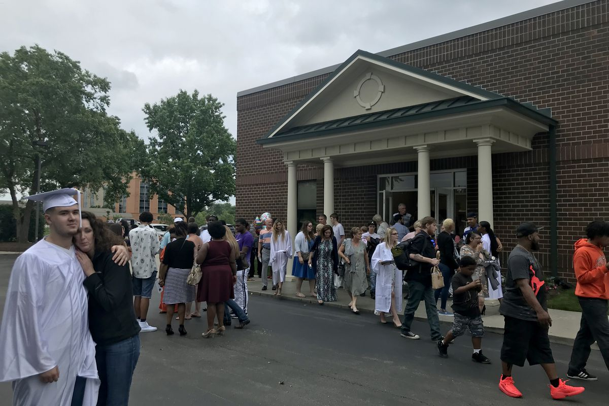 Indiana Virtual School and Indiana Virtual Pathways Academy graduates file out of the Ritz Charles event center with their families Saturday.