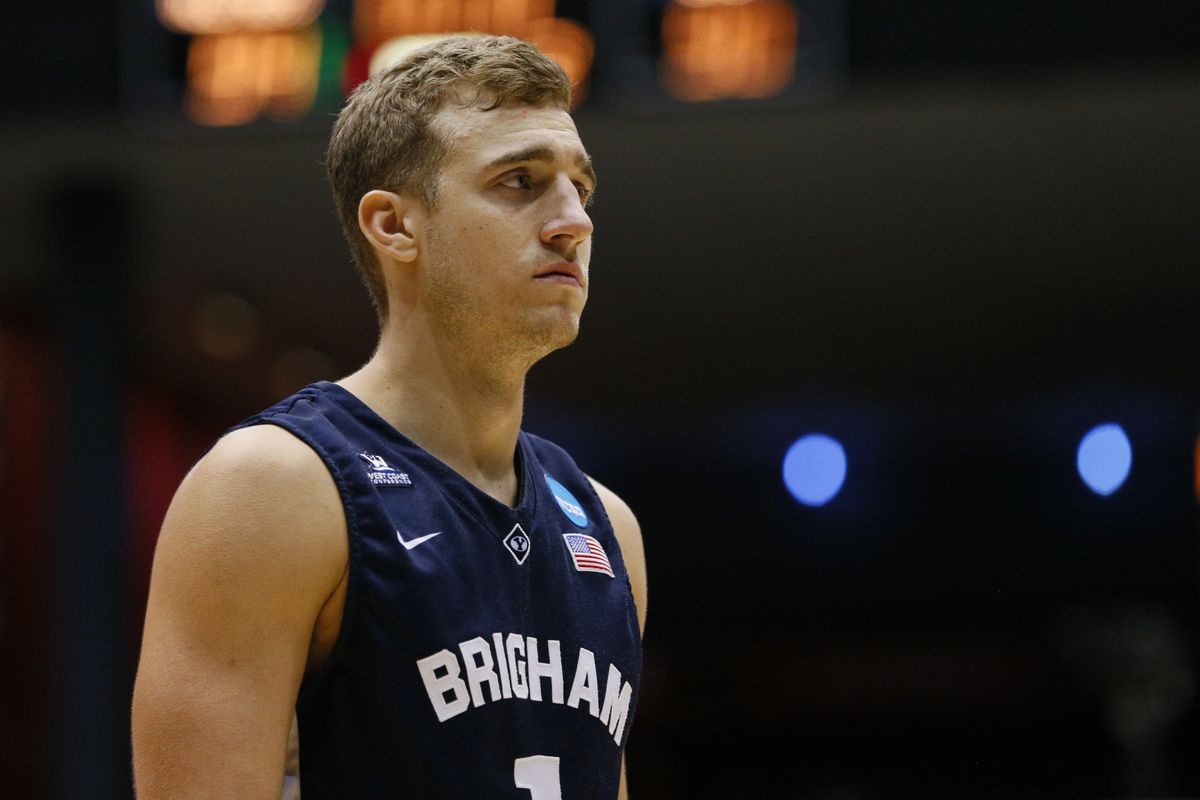 BYU's Chase Fischer after the Cougars' loss to Ole Miss in the 2015 NCAA Tournament.