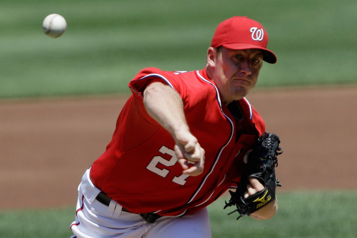 WASHINGTON, DC - JULY 31:  Starting pitcher Jordan Zimmermann #27 of the Washington Nationals throws to a New York Mets batter during the first inning at Nationals Park on July 31, 2011 in Washington, DC.  (Photo by Rob Carr/Getty Images)