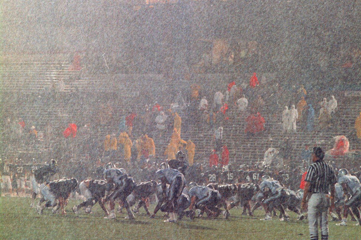 Unaltered photograph with rain pouring down.