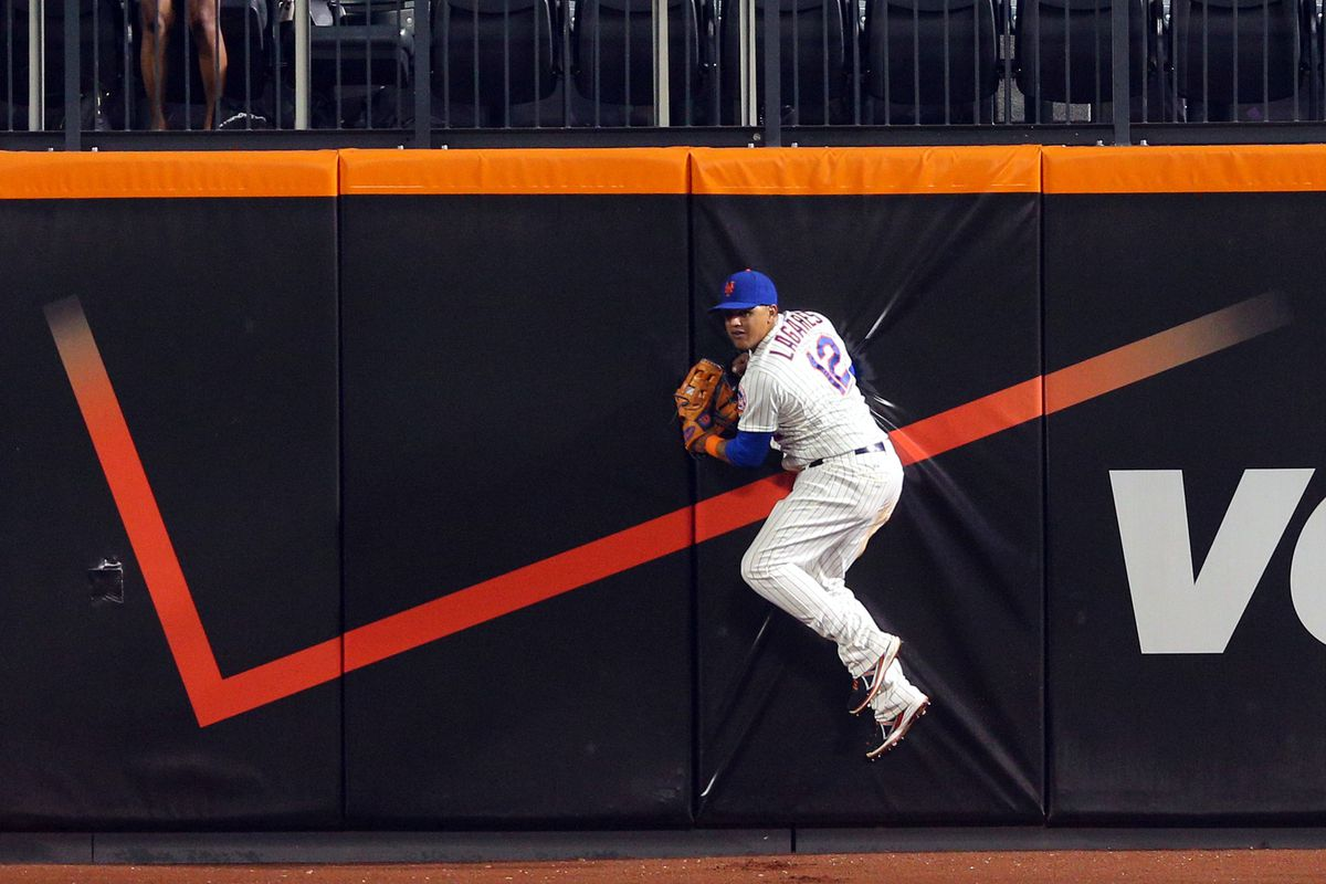 Juan Lagares hops off his wall perch in the outfield and screeches like a bird as the game gets underway.