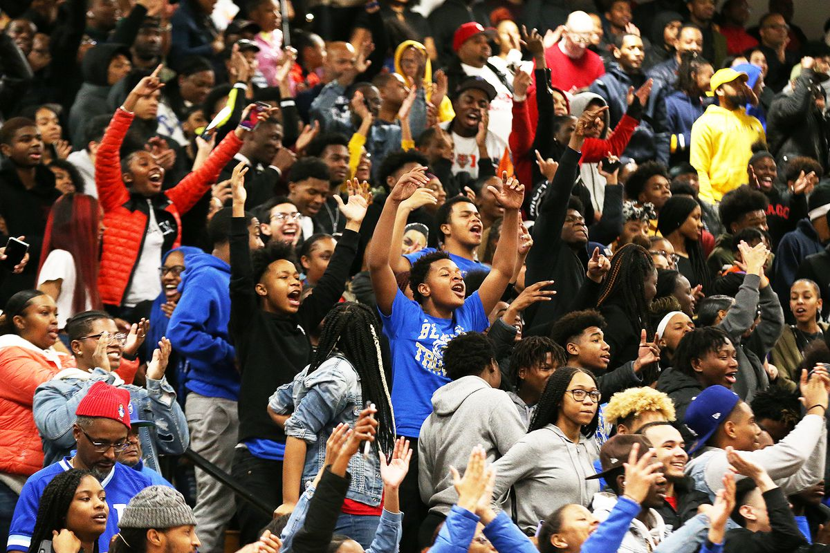 Bloom's fans enjoy the game as the Blazing Trojans defeat Thornton 74-57, Chicago Heights, Illinois, January 29, 2020.