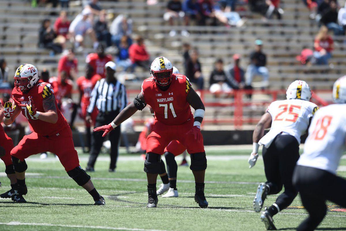 Maryland football left tackle Jaelyn Duncan