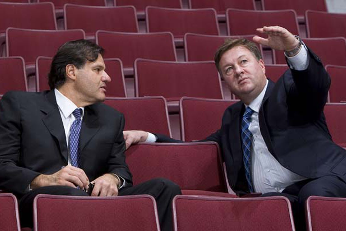 <strong>Gillis</strong>: My invisible parrot's name is Kinsley and I'm teaching him ballet but I'm having the damnedest time finding a unitard that fits.  <strong>Aquilini</strong>: We're switching you to decaf tomorrow morning.