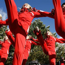 University of Utah cheerleaders perform at pep rally Monday on campus to kick off rivalry week, which culminates Saturday as the Utes face the BYU Cougars in Provo.