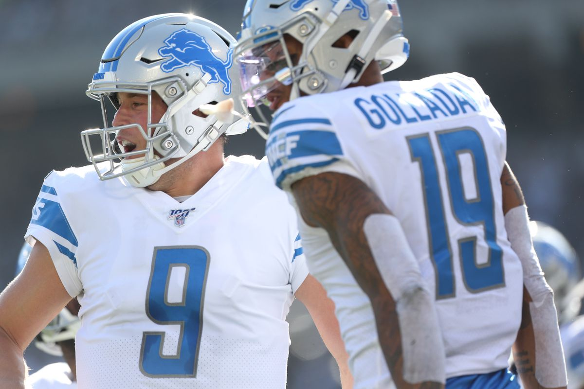 Detroit Lions quarterback Matthew Stafford reacts after throwing touchdown pass to wide receiver Kenny Golladay against the Oakland Raiders in the second quarter at Oakland Coliseum.