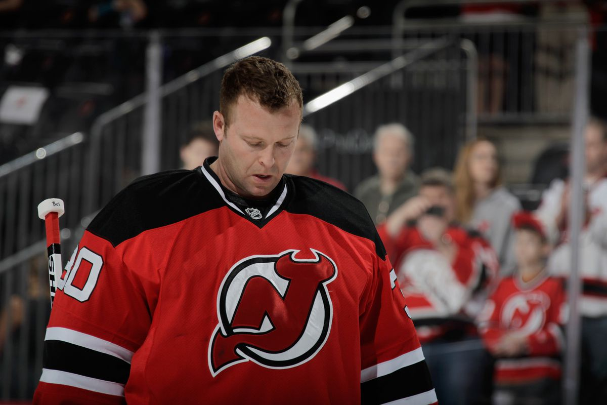 Martin Brodeur stands for his last National Anthem at the Prudential Center in 2013-14.  He'd concede his 95th and 96th goals of the season, which weren't bad ones, actually.