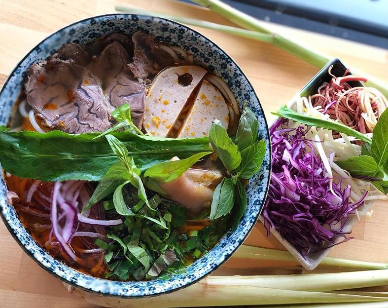 Bun bo Hue, a spicy beef noodle soup, at Em Vietnamese Bistro