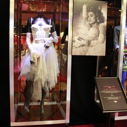 """Madonna's infamous """"Like a Virgin"""" wedding dress was worn by Madge at the 1984 MTV VMA's."""