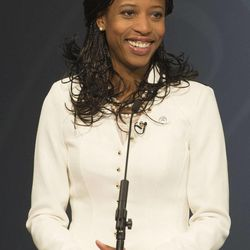 Mia Love addresses the audience as she debates Doug Owens at the Dolores Doré Eccles Broadcast Center on the University of Utah campus in Salt Lake City on Tuesday, Oct. 14, 2014.