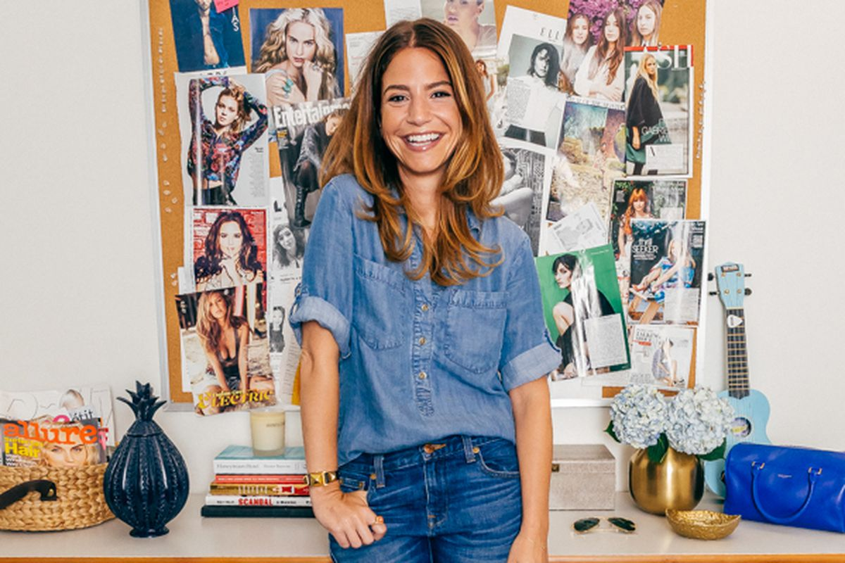 """Marni Golden, Entertainment Director, wears a Cloth & Stone shirt; J.Crew jeans; Chanel shoes; and jewelry by Hermès, Sydney Evan, Catbird, Susan Kalan and vintage. All Photos by <a href=""""http://drielys.com"""">Driely S.</a> for Racked</span></p>"""