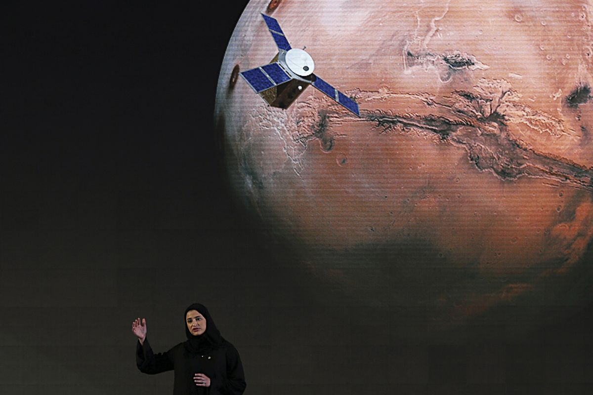 """FILE - In this Wednesday, May 6, 2015, file photo, Sarah Amiri, deputy project manager of the United Arab Emirates Mars mission, talks about the project named """"Hope,"""" or """"al-Amal"""" in Arabic, which is scheduled for launch in 2020, during a ceremony in Dubai, UAE. A top official in the United Arab Emirates said Tuesday, Sept. 29, 2020, his country plans to send an unmanned spacecraft to the moon in 2024."""