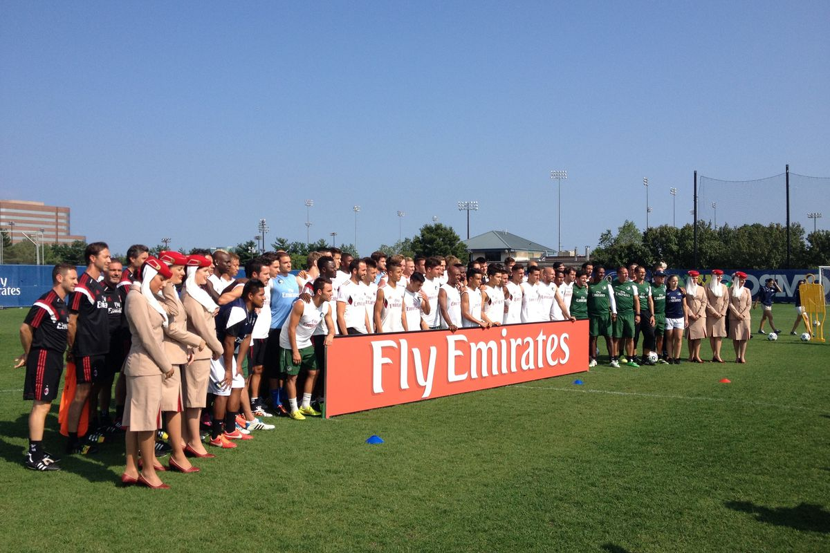 The New York Cosmos and AC Milan stand side-by-side prior to an afternoon training session.