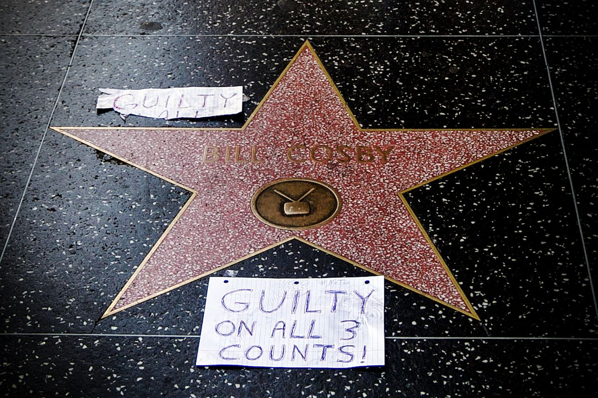 Bill Cosby's star on the Hollywood Walk Fame is tagged with the jury's verdict on April 26, 2018.