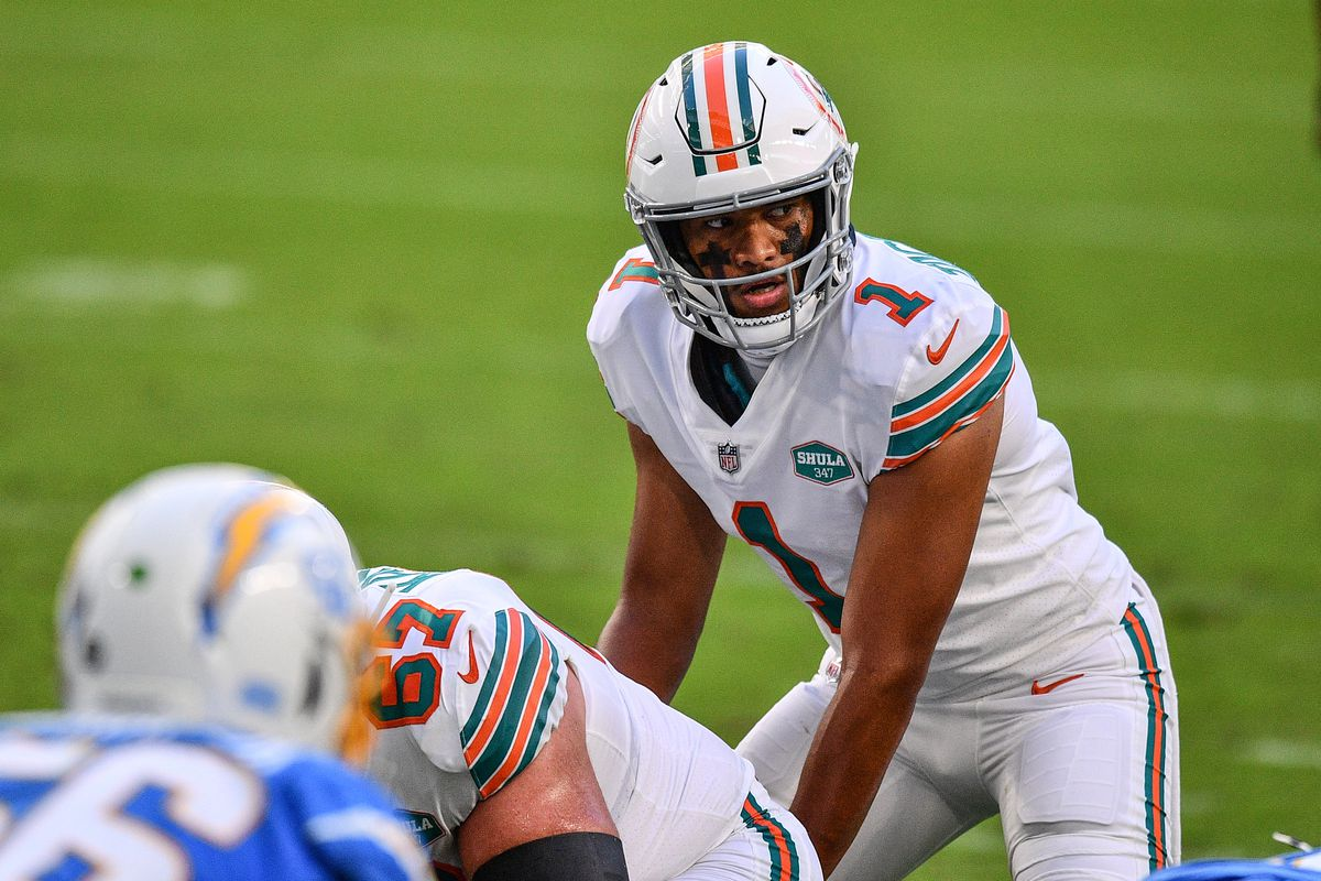 Tua Tagovailoa #1 of the Miami Dolphins in action against the Los Angeles Chargers at Hard Rock Stadium on November 15, 2020 in Miami Gardens, Florida.