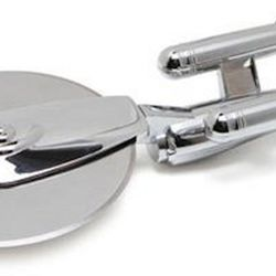 """Now you can own this genuine, licensed U.S.S. Enterprise"""" pizza cutter, formerly available only through Federation Restaurant Supply depots. And only to Star Trek"""" mess personnel. The solid zinc-alloy, chromium-plated body is in the shape of the"""