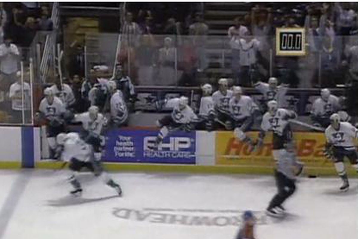 Mighty Ducks bench reacts to the first win in franchise history!
