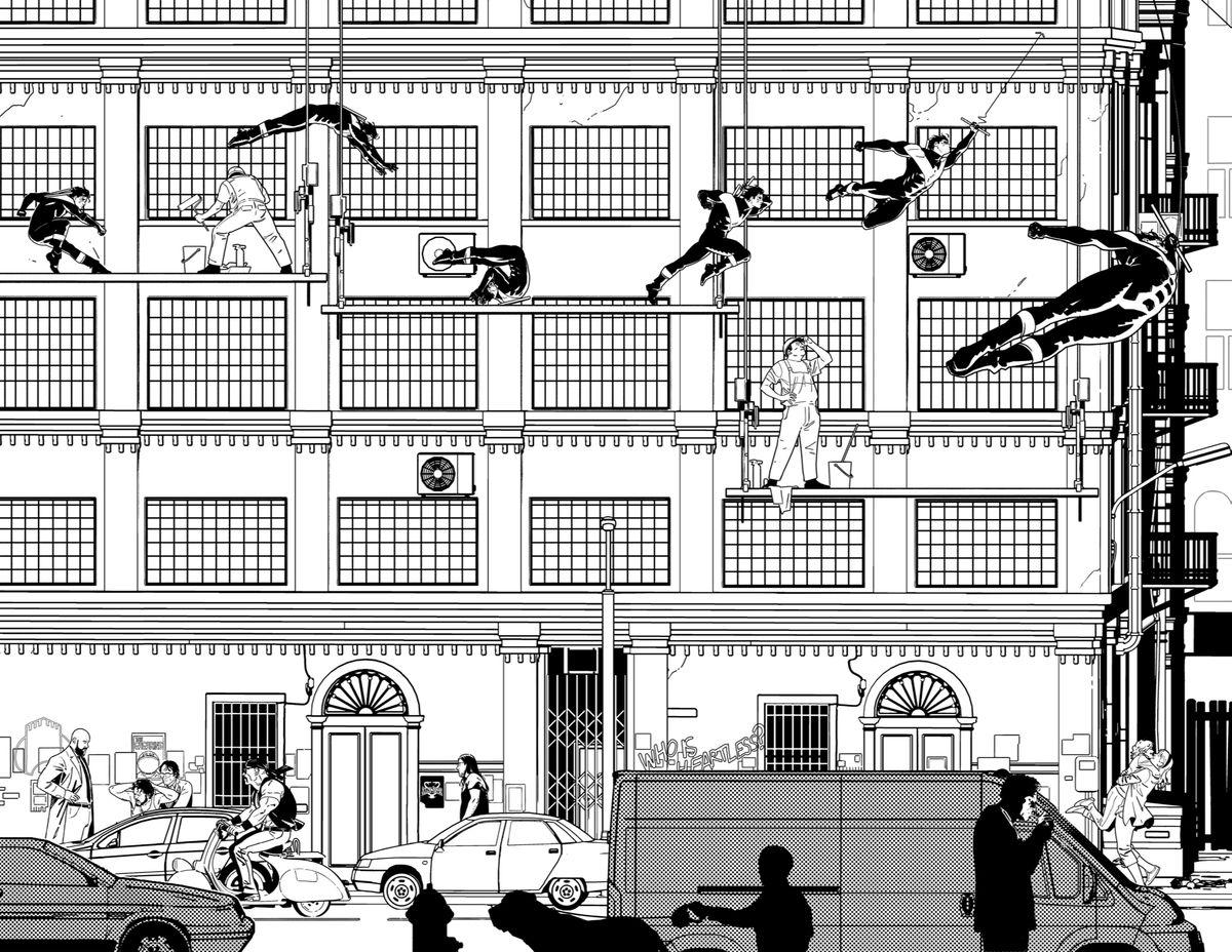 Black and white comic book art