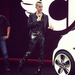 Close-up on Jeremy Scott's rad leather pants
