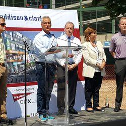 L to R: U.S. Rep Mike Quigley, Mayor Rahm Emanuel, State Sen. John Cullerton, State Rep. Sara Feigenholtz, Ald. Tom Tunney -