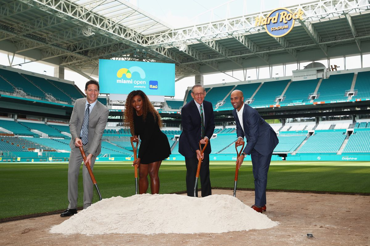 Serena Williams attends Miami Open groundbreaking at Hard Rock Stadium