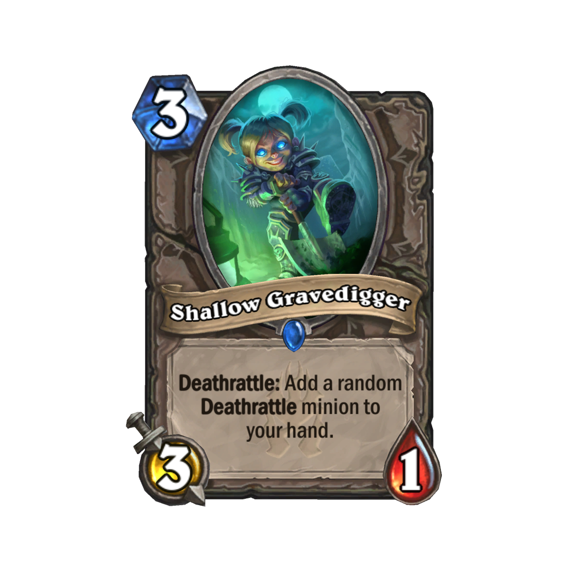"""This Hearthstone card is titled """"Shallow Gravedigger."""" It is a three-cost minion with three attack and one health, and its card text reads: """"Deathrattle: Add a random Deathrattle minion to your hand."""" The card art depicts an armored gnome pushing a shovel"""