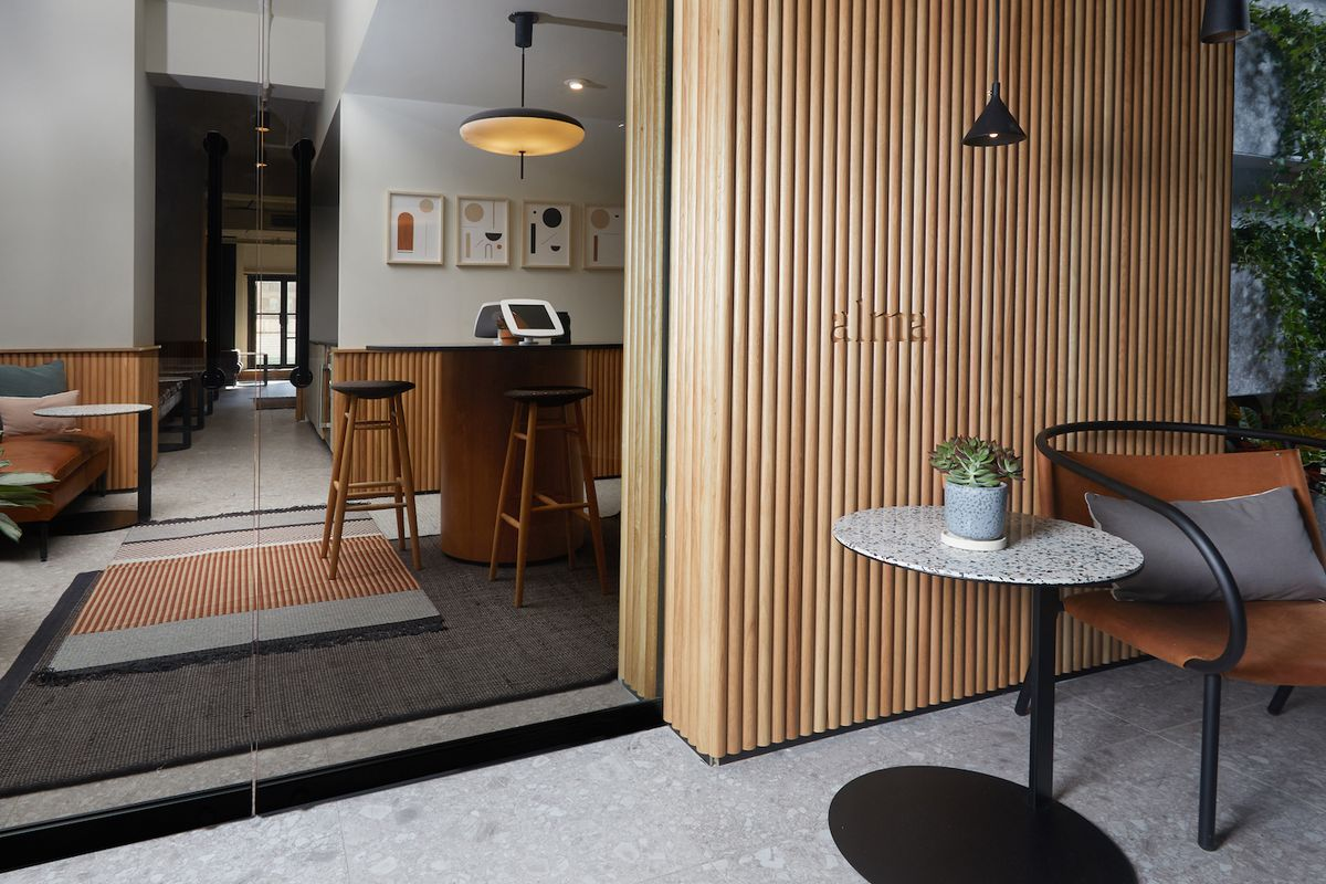 Entrance to doctor's office with stylish furniture