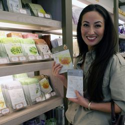 """↑ Known for their face masks, the Face Shop stocks a variety of affordable options infused with natural ingredients like kelp, mung bean, honey, and cucumber; the hyaluronic masks are especially popular for their anti-aging properties. """"You put them on yo"""