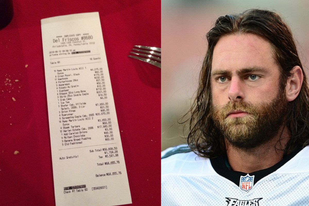 L, image of receipt from Mathis' tweet, R, Mathis