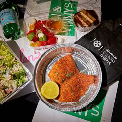 How about ordering The Rick Dalton? It's a chicken cutlet, salad, and tiramisu from the Jon & Vinny's menu at the Lexus Culinary Cinema in LA.